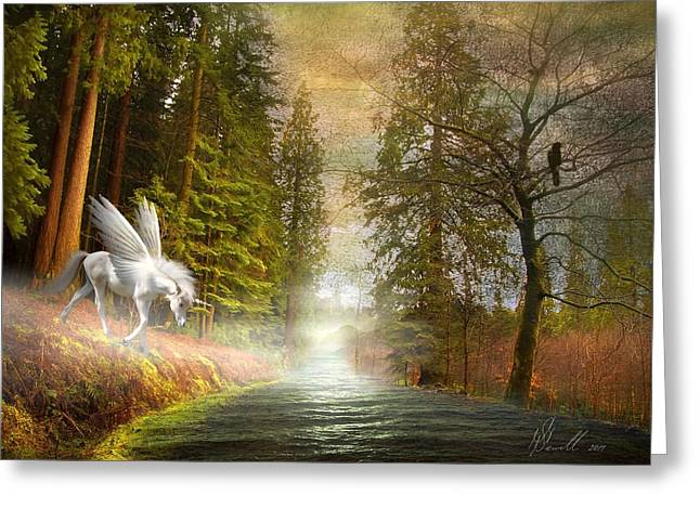 Bare Trees Mixed Media Greeting Cards - Unicorn in the Morning Greeting Card by Svetlana Sewell