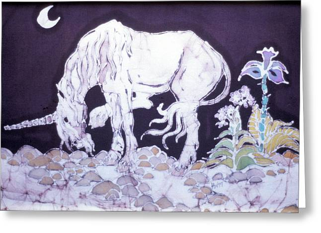 Unicorn Tapestries - Textiles Greeting Cards - Unicorn Pauses Greeting Card by Carol  Law Conklin