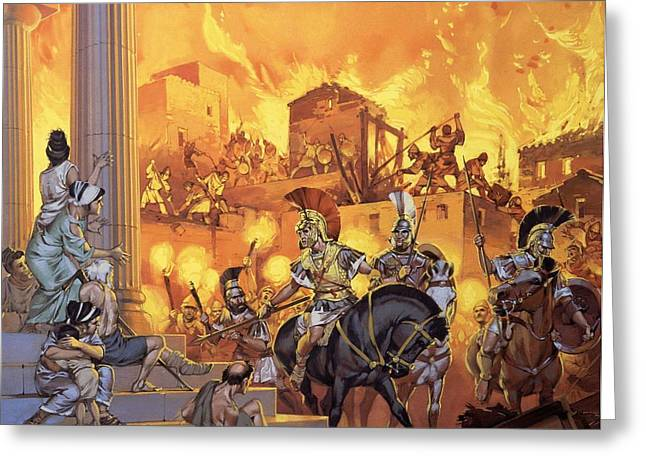 Angus Greeting Cards - Unidentified Roman Attack Greeting Card by Angus McBride