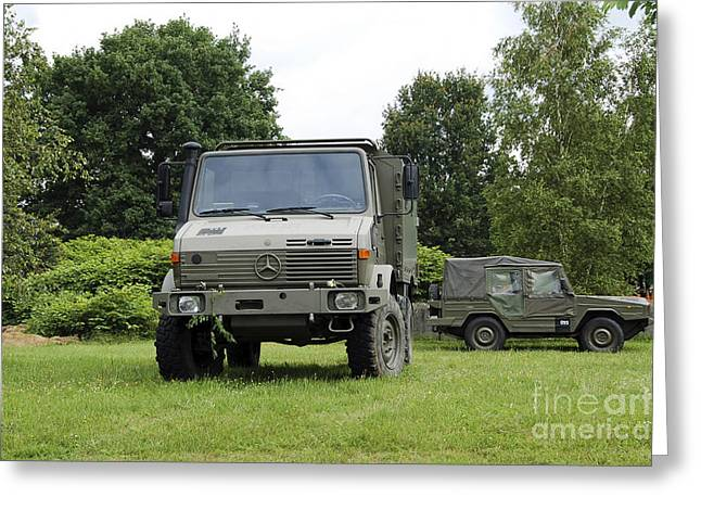 Component Greeting Cards - Unimog Truck Of The Belgian Army Greeting Card by Luc De Jaeger