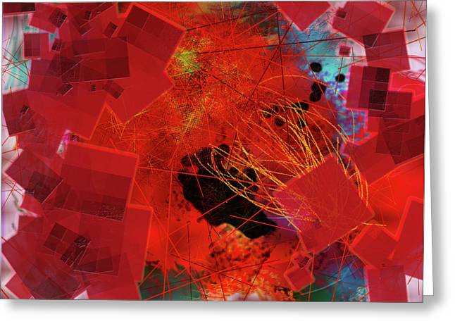 Whirligig Greeting Cards - Uninhibited Orange Cubes Greeting Card by James Thomas