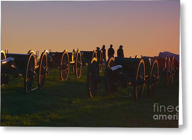Cedar Creek Greeting Cards - Union Cannons at Sunset Greeting Card by Susan Isakson