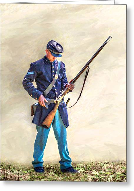 Reenactment Greeting Cards - Union Civil War Soldier Reloading Greeting Card by Randy Steele