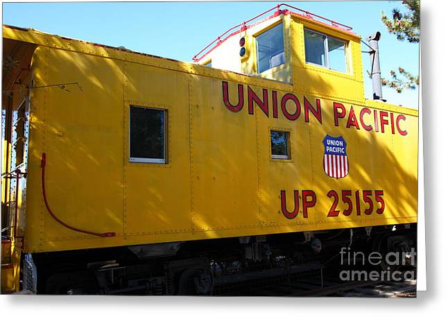 Old Cabooses Greeting Cards - Union Pacific Caboose - 5D19205 Greeting Card by Wingsdomain Art and Photography