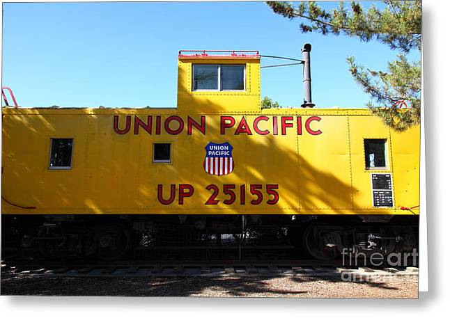 Old Cabooses Greeting Cards - Union Pacific Caboose - 5D19206 Greeting Card by Wingsdomain Art and Photography