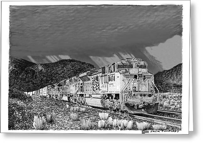 Union Pacific Diesels And Monsoon Greeting Card by Jack Pumphrey