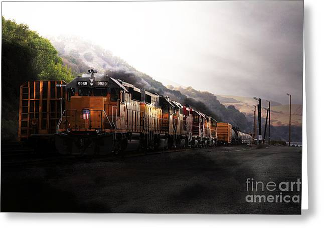 Boxcars Greeting Cards - Union Pacific Locomotive at Sunrise . 7D10561 Greeting Card by Wingsdomain Art and Photography
