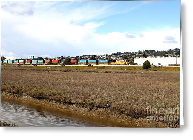Cargo Train Greeting Cards - Union Pacific Locomotive Train . 7D15060 Greeting Card by Wingsdomain Art and Photography