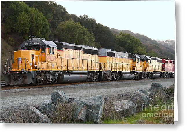 Tanker Train Greeting Cards - Union Pacific Locomotive Trains . 7D10565 Greeting Card by Wingsdomain Art and Photography