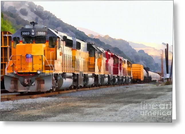 Union Pacific Locomotives Along The Hills Of Martinez California . 7d10563 Greeting Card by Wingsdomain Art and Photography