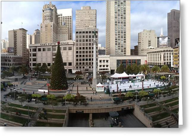 Union Square Digital Greeting Cards - Union Square SF Greeting Card by Ron Bissett