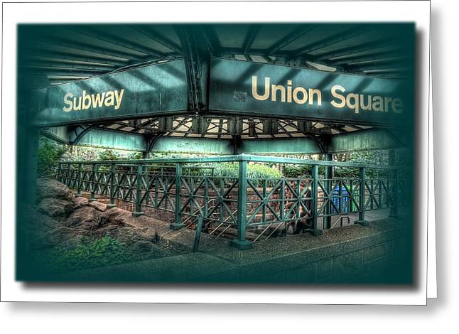 Union Square Pyrography Greeting Cards - Union Square Subway Greeting Card by Frank Garciarubio