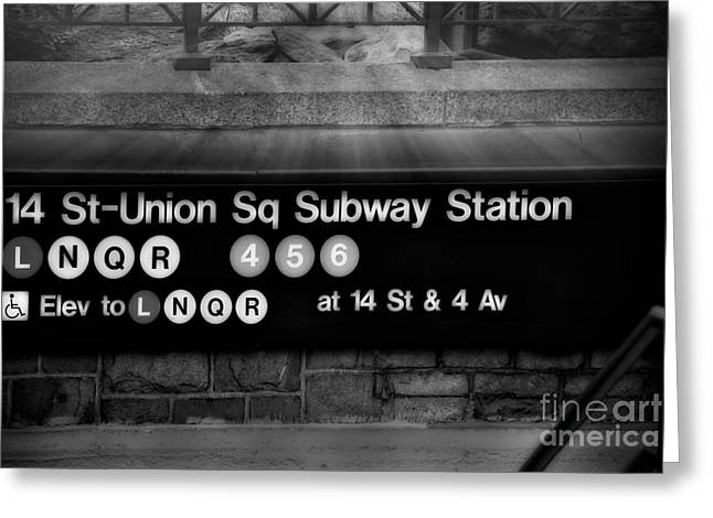 Union Square Photographs Greeting Cards - Union Square Subway Station BW Greeting Card by Susan Candelario