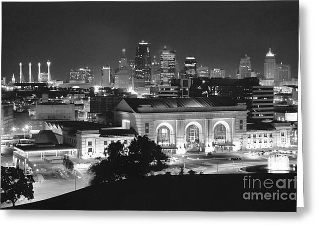 Kansas City Greeting Cards - Union Station in Black and White Greeting Card by Crystal Nederman