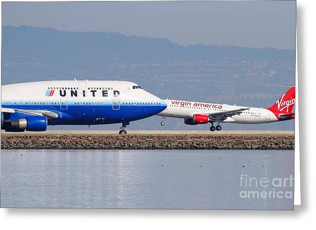 United Airlines Passenger Plane Greeting Cards - United Airlines And Virgin America Airlines Jet Airplanes At San Francisco International Airport SFO Greeting Card by Wingsdomain Art and Photography