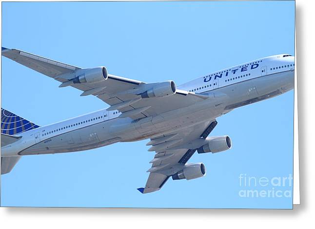 United Airlines Passenger Plane Greeting Cards - United Airlines Boeing 747 . 7D7838 Greeting Card by Wingsdomain Art and Photography