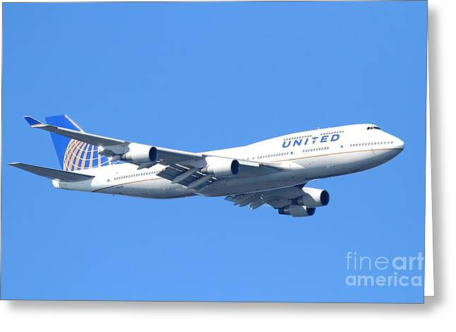 United Airlines Passenger Plane Greeting Cards - United Airlines Boeing 747 . 7D7850 Greeting Card by Wingsdomain Art and Photography