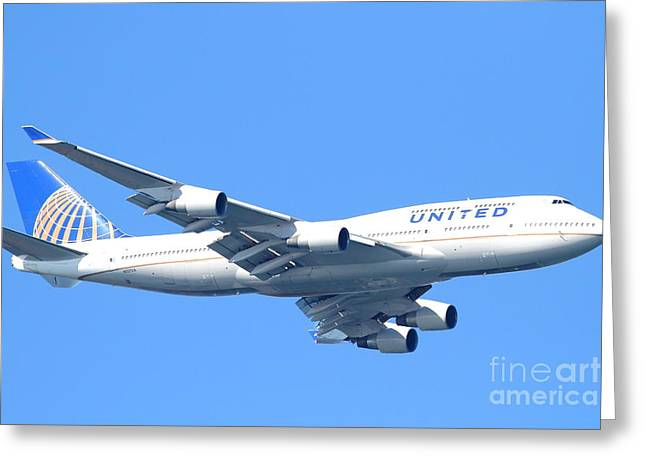 United Airlines Passenger Plane Greeting Cards - United Airlines Boeing 747 . 7D7852 Greeting Card by Wingsdomain Art and Photography