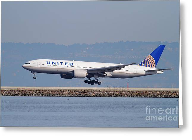 Airplane Landing Greeting Cards - United Airlines Jet Airplane . 7D11794 Greeting Card by Wingsdomain Art and Photography