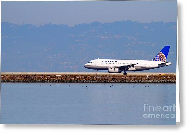 United Airlines Passenger Plane Greeting Cards - United Airlines Jet Airplane At San Francisco International Airport SFO . 7D11998 Greeting Card by Wingsdomain Art and Photography