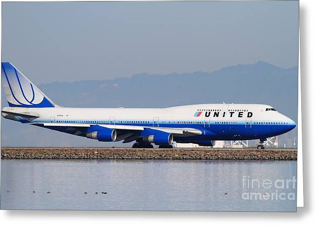 United Airlines 747 Greeting Cards - United Airlines Jet Airplane At San Francisco International Airport SFO . 7D12006 Greeting Card by Wingsdomain Art and Photography