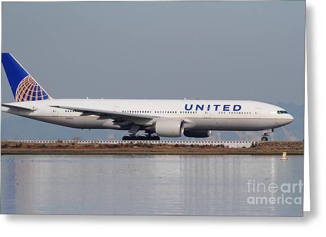 United Airlines 747 Greeting Cards - United Airlines Jet Airplane At San Francisco International Airport SFO . 7D12079 Greeting Card by Wingsdomain Art and Photography