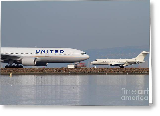United Airlines 747 Greeting Cards - United Airlines Jet Airplane At San Francisco International Airport SFO . 7D12081 Greeting Card by Wingsdomain Art and Photography