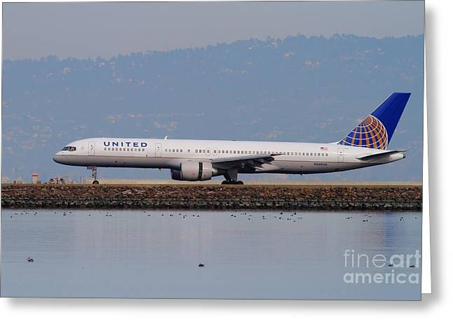 United Airlines Passenger Plane Greeting Cards - United Airlines Jet Airplane At San Francisco International Airport SFO . 7D12129 Greeting Card by Wingsdomain Art and Photography