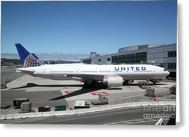 Intransit Greeting Cards - United Airlines Jet Airplane at San Francisco SFO International Airport - 5D17107 Greeting Card by Wingsdomain Art and Photography