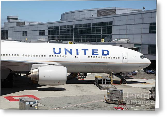 United Airlines Jet Airplane at San Francisco SFO International Airport - 5D17109 Greeting Card by Wingsdomain Art and Photography
