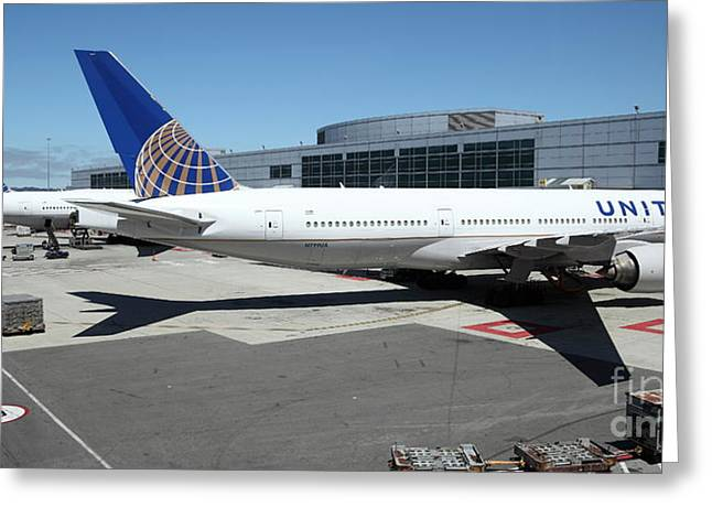 United Airlines 747 Greeting Cards - United Airlines Jet Airplane at San Francisco SFO International Airport - 5D17112 Greeting Card by Wingsdomain Art and Photography