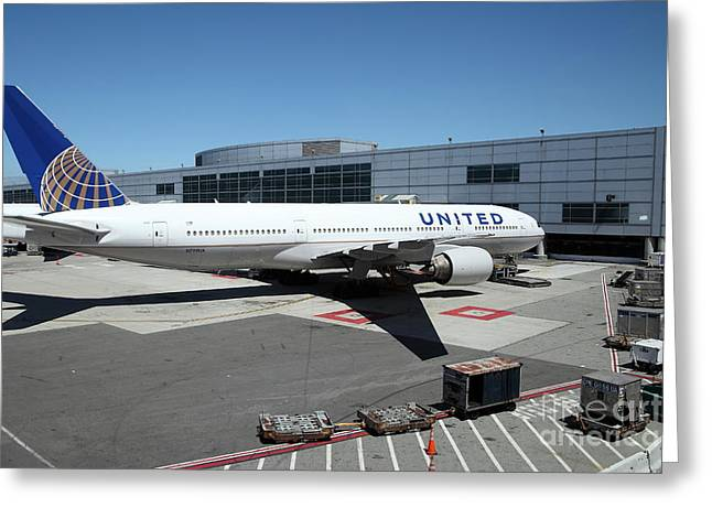 Intransit Greeting Cards - United Airlines Jet Airplane at San Francisco SFO International Airport - 5D17114 Greeting Card by Wingsdomain Art and Photography