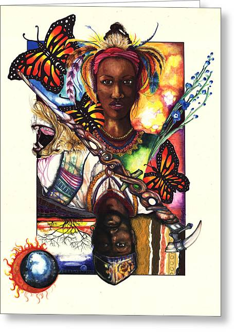 African-american Artist Drawings Greeting Cards - United Greeting Card by Anthony Burks Sr