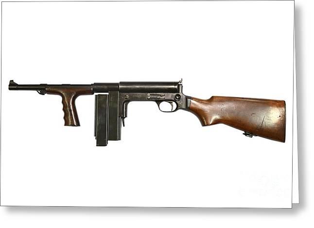 United Defense M42 Submachine Gun Greeting Card by Andrew Chittock