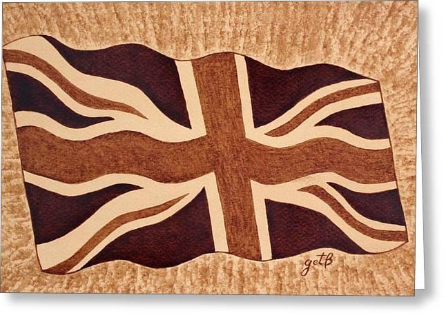 United Kingdom Flag Coffee Painting Greeting Card by Georgeta  Blanaru