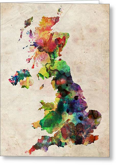 England Map Greeting Cards - United Kingdom Watercolor Map Greeting Card by Michael Tompsett