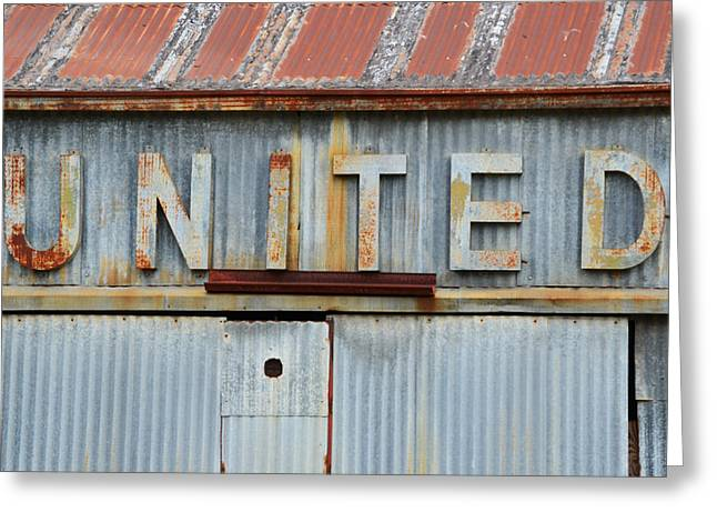 Old Sign Greeting Cards - UNITED Rusted Metal Sign Greeting Card by Nikki Marie Smith
