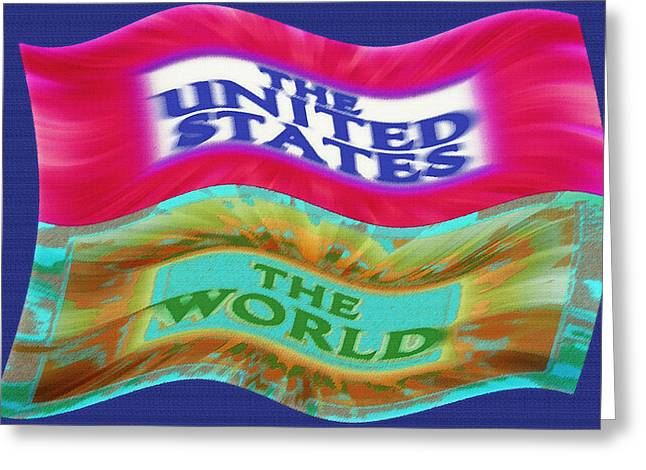 United States - The World - Flag Unfurled Greeting Card by Steve Ohlsen
