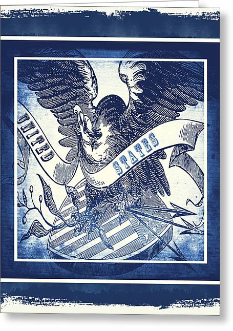 Patriotism Mixed Media Greeting Cards - United States Blue Greeting Card by Angelina Vick