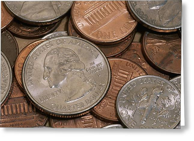 United States Coins Lie In A Pile Greeting Card by Taylor S. Kennedy
