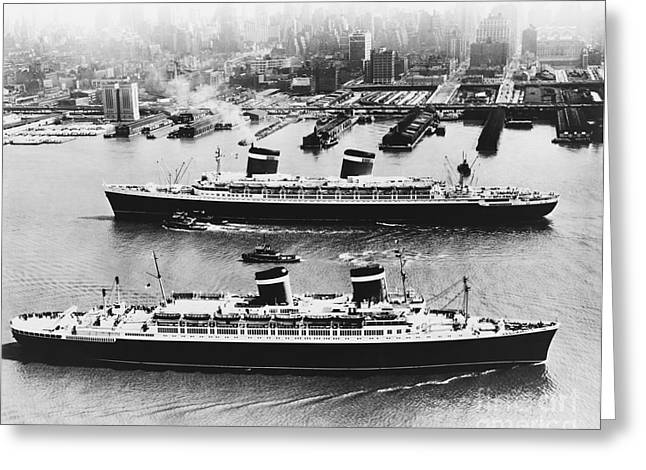Ss Unites States Greeting Cards - United States Lines Ships Greeting Card by Photo Researchers