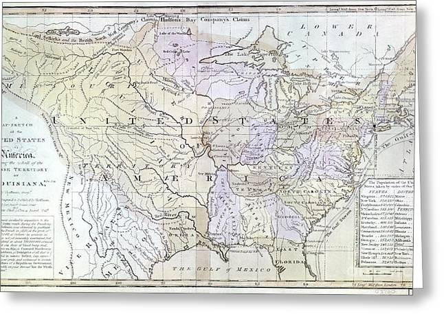 Louisiana Purchase Greeting Cards - UNITED STATES MAP, c1812 Greeting Card by Granger