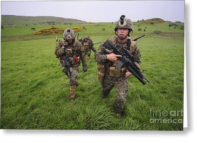 Field Telephone Greeting Cards - United States Marines Training Greeting Card by Andrew Chittock