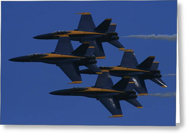 F-18 Greeting Cards - United States Navy Blue Angels Greeting Card by Christopher Kirby