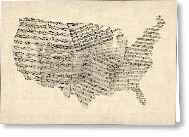 Cartography Digital Art Greeting Cards - United States Old Sheet Music Map Greeting Card by Michael Tompsett