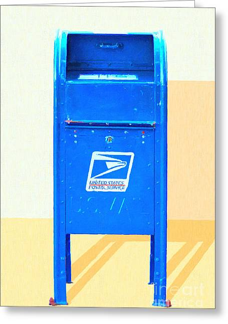 Us Postal Service Greeting Cards - United States Postal Service Mail Box . Snail Mail Greeting Card by Wingsdomain Art and Photography