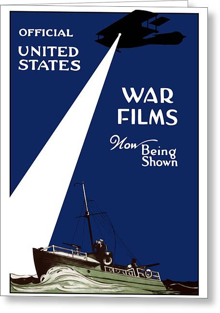 Ship Digital Art Greeting Cards - United States War Films Now Being Shown Greeting Card by War Is Hell Store