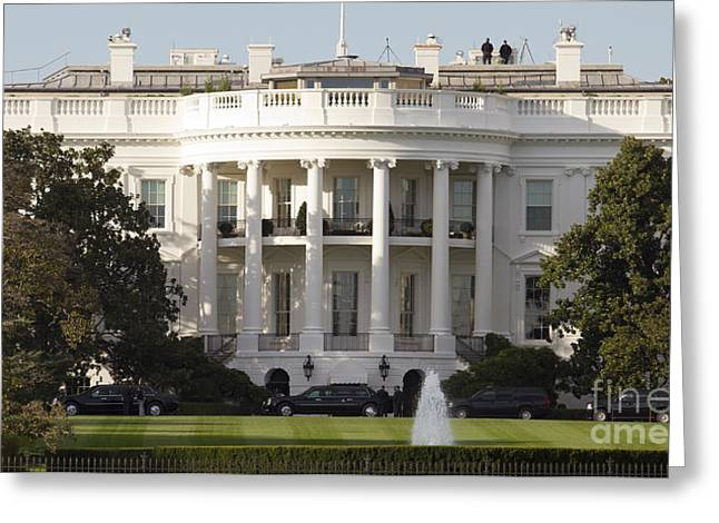 Presidential Photographs Greeting Cards - United States White House and Presidential Motorcade Greeting Card by Dustin K Ryan