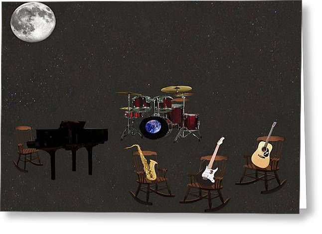 Rocking Chairs Mixed Media Greeting Cards - Universal Rock Greeting Card by Eric Kempson