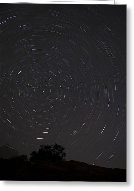 Night Silhouette Greeting Cards - Universe in Motion Greeting Card by Andrew Soundarajan